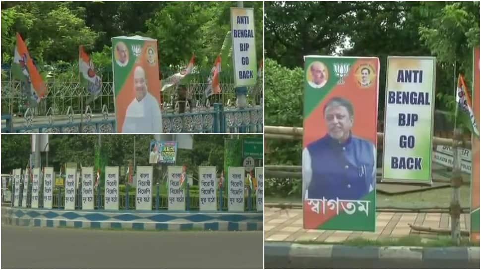 """அமித்ஷா வருகையொட்டி கொல்கத்தா முழுவதும் """"Anti-Bengal BJP Go Back"""" போஸ்டர்"""