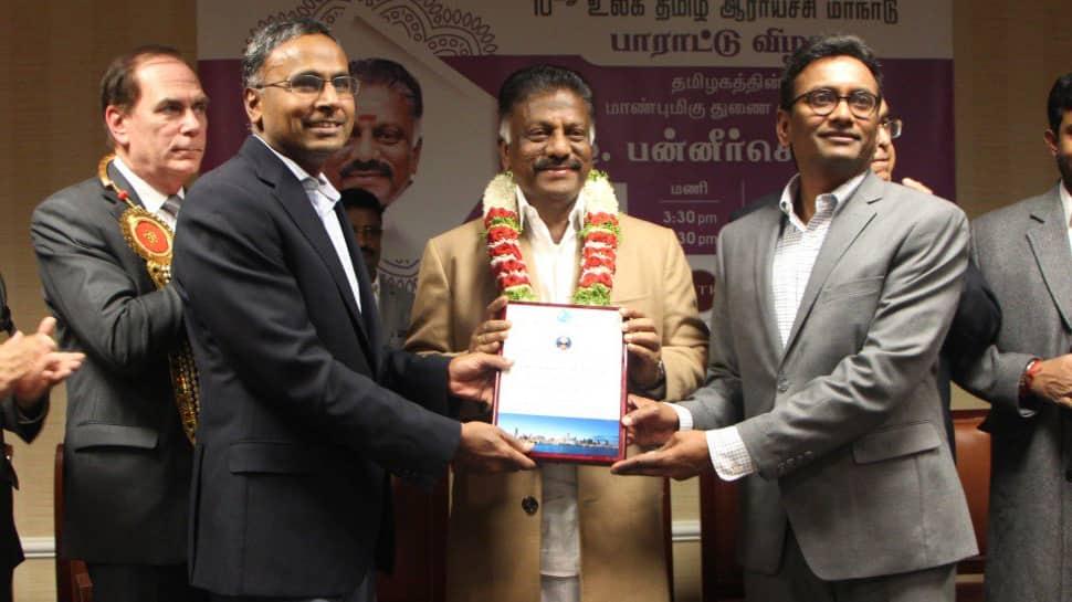 துணை முதல்வர் OPS-க்கு உலக தமிழ் சங்கம் சார்பில் தங்க தமிழ் மகன் விருது!