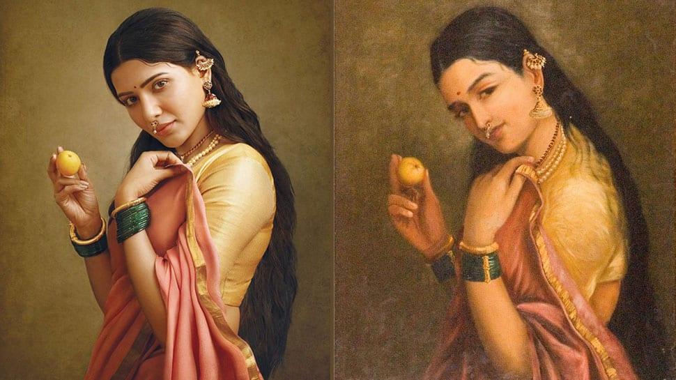 ரவிவர்மா பெயின்டிங் போல் சமந்தா... வைரலாகும் போட்டோ