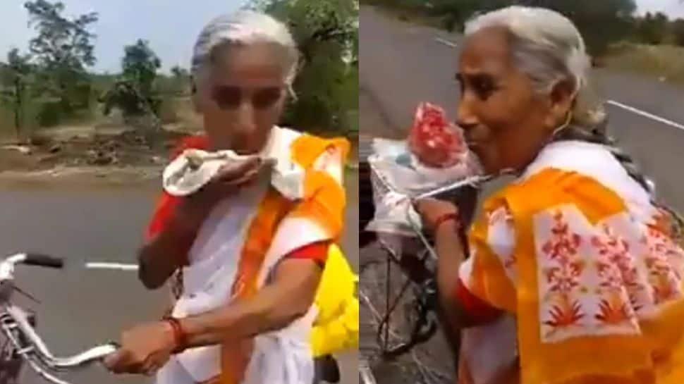 வைஷ்ணோ தேவி தரிசனத்துக்கு 2200km cycle பயணம் செய்யும் 68 வயது மராட்டிய பெண்மணி