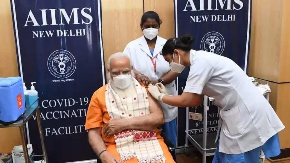 COVID-19 இரண்டாவது டோஸ் தடுப்பூசியை தில்லி AIIMS-ல் போட்டுக்கொண்டார் பிரதமர் மோடி