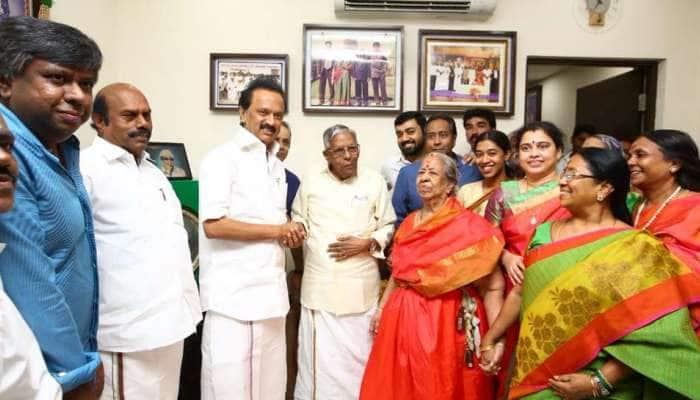 MGR கழக தலைவர் RM வீரப்பன் அவர்களுடன் MK ஸ்டாலின் சந்திப்பு!