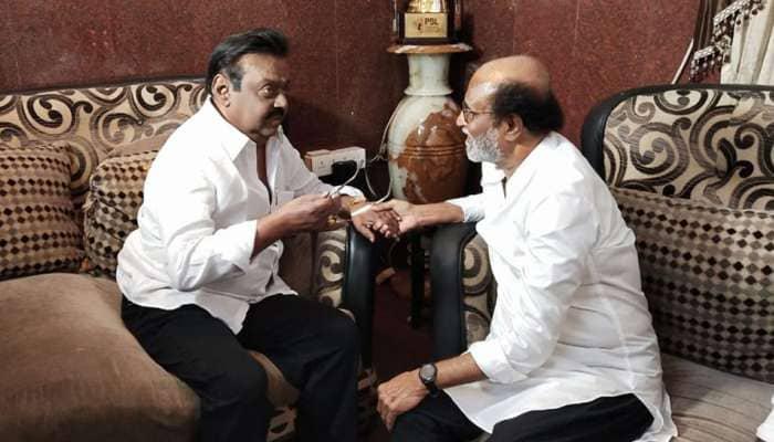 DMDK தலைவர் விஜயகாந்தை சந்தித்தார் ரஜினிகாந்த்!