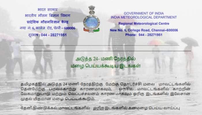 தேனி, திண்டுக்கல் மாவட்டங்களில் கனமழைக்கு வாய்ப்பு: வானிலை மையம்