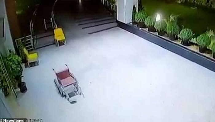 WATCH: தானாக நகர்ந்து சென்ற சக்கர நாற்காலி; பீதியடைந்த காவலாளி..!