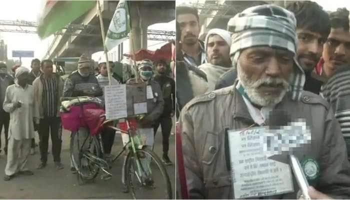 Farmers Protest: 1000km சைக்கிளில் பயணித்து டில்லி போராட்டத்திற்கு வந்த விவசாயி