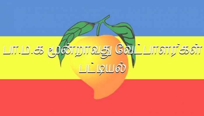 சட்டப்பேரவைத் தேர்தல் - 2021 பா.ம.க மூன்றாவது வேட்பாளர்கள் பட்டியல் வெளியீடு!